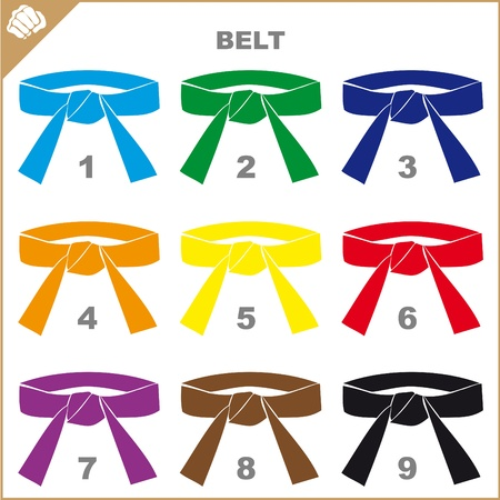 sambo: COLORED BELTS-MARTIAL ARTS ORIGINAL SET Illustration