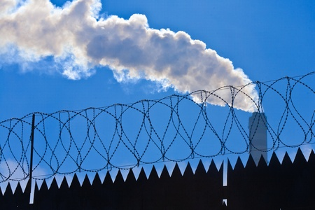 Original barbed and smoke industrial background. Stock Photo - 9445112