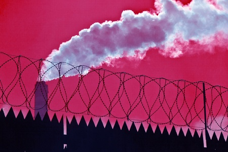 Original barbed and smoke industrial background. Stock Photo - 9445113