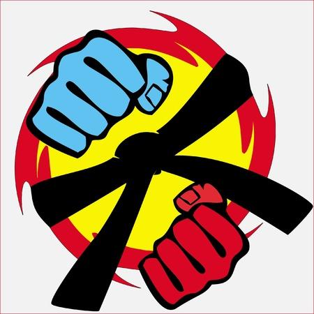 kickboxing: martial arts symbol - big strong fists Illustration