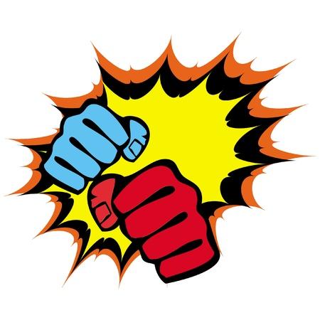 kudo: martial arts symbol - big strong fists Illustration