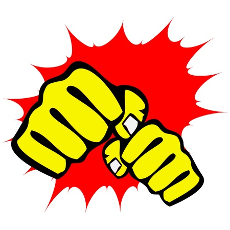 katana: martial arts symbool - grote sterke vuisten Stock Illustratie