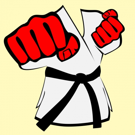 martial arts symbol - kimono, big fists Vector