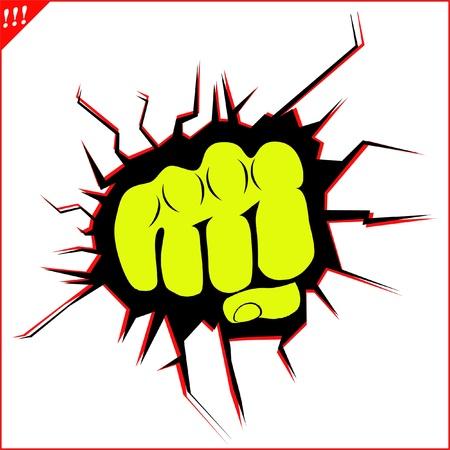 Power fist karate,boxing kick Illustration