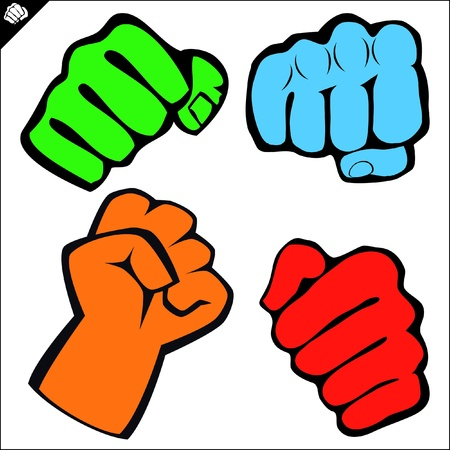 Power fist karate,boxing kick Vector