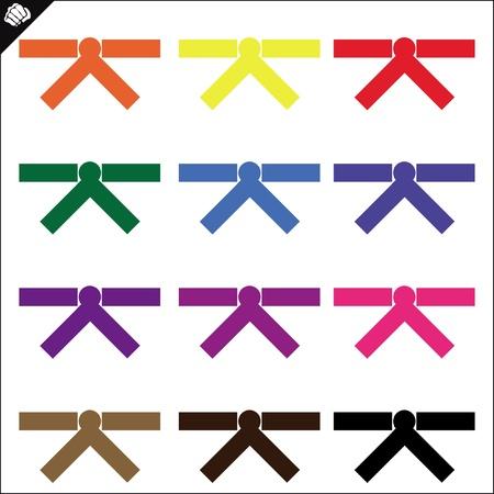 kumite: Belts.martial arts colored emblem, symbol. Karate style. Japan, Korea, Okinawa, China, Brazil, USA.Vector .