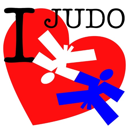 ju jutsu: I love judo wrestling.martial arts colored emblem, symbol. Karate style. Japan, Korea, Okinawa, China, Brazil, USA.Vector .