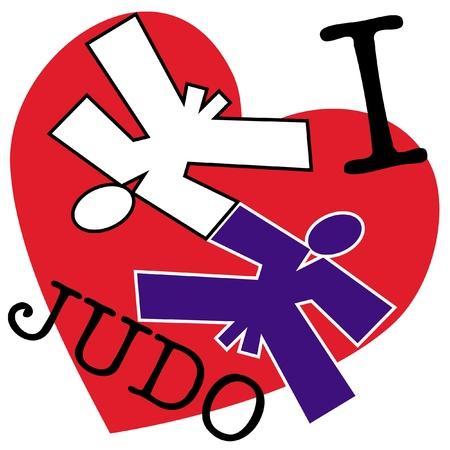 Me encanta el judo artes wrestling.martial emblema de color, s�mbolo. Karate estilo. Jap�n, Corea, Okinawa, China, Brasil, USA.Vector.