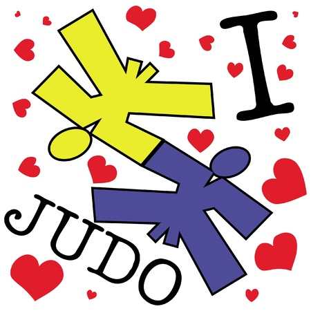 mix fighting: I love judo wrestling.martial arts colored emblem, symbol. Karate style. Japan, Korea, Okinawa, China, Brazil, USA.Vector .