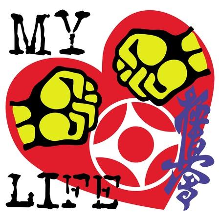 Me encanta artes kyokushinkai.martial emblema de color, s�mbolo. Karate estilo. Jap�n, Corea, Okinawa, China, Brasil, USA.Vector.
