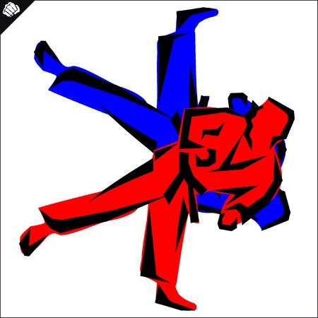 Fight, fighters.martial arts colored emblem, symbol. judo style. Japan, Korea, Okinawa, China, Brazil, USA.Vector . Vector