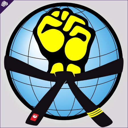 mix fighting: Fist, belt.martial arts colored emblem, symbol. Karate style. Japan, Korea, Okinawa, China, Brazil, USA.Vector . Illustration