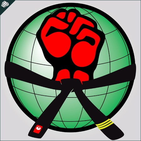 ju jutsu: Fist, belt.martial arts colored emblem, symbol. Karate style. Japan, Korea, Okinawa, China, Brazil, USA.Vector . Illustration