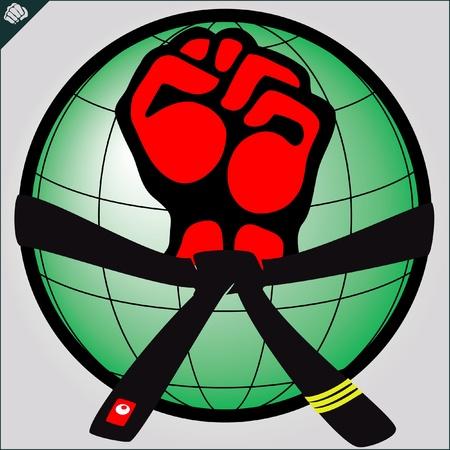 kumite: Fist, belt.martial arts colored emblem, symbol. Karate style. Japan, Korea, Okinawa, China, Brazil, USA.Vector . Illustration