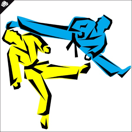 Lucha, artes fighters.martial color emblema, s�mbolo. Karate estilo. Jap�n, Corea, Okinawa, China, Brasil, USA.Vector.