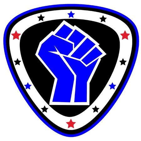 dan: Fists.martial arts colored emblem, symbol. Karate style. Japan, Korea, Okinawa, China, Brazil, USA.Vector . Illustration