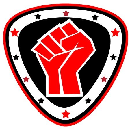 Fists.martial kunst gekleurde embleem, symbool. Karate stijl. Japan, Korea, Okinawa, China, Brazilië, USA.Vector. Stock Illustratie