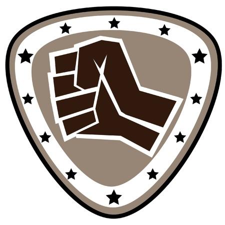 Fists.martial kunsten gekleurde embleem, symbool. Karate stijl. Japan, Korea, Okinawa, China, Brazilië, USA.Vector.
