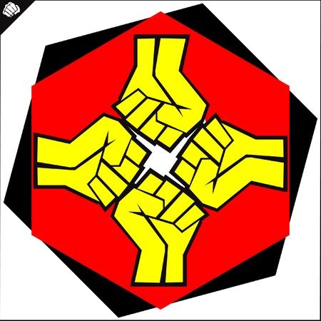Fists.martial arts colored emblem, symbol. Karate style. Japan, Korea, Okinawa, China, Brazil, USA.Vector . Illustration