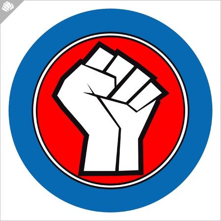 주먹 포스터. 무술의 상징, 상징물 색깔. 일러스트