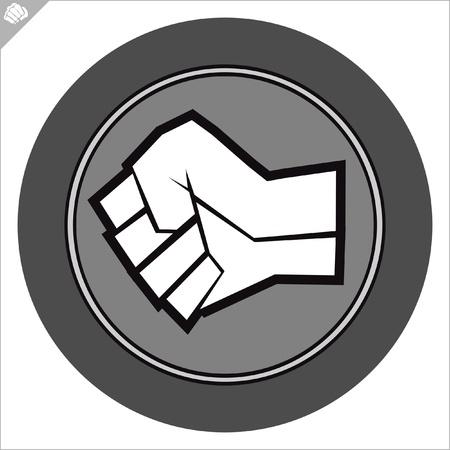 kyokushinkai: Fist  poster. martial arts colored emblem, symbol. Karate style. Japan, Korea, Okinawa, China, Brazil, USA.Vector . Illustration