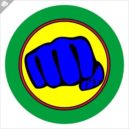 Fist  poster. martial arts colored emblem, simbol. Illustration