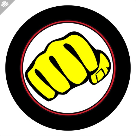 Fist  poster. martial arts colored emblem, symbol. Karate style. Japan, Korea, Okinawa, China, Brazil, USA.Vector . Vector