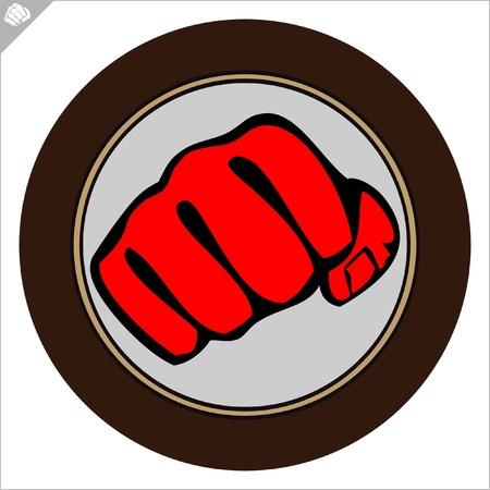 dojo: Fist  poster. martial arts colored emblem, simbol. Illustration