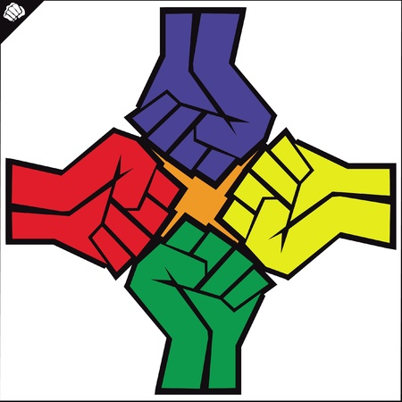 Fist set poster. martial arts colored emblem, symbol. Karate style. Japan, Korea, Okinawa, China, Brazil, USA.Vector .
