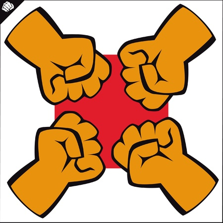 Fist set poster. martial arts colored emblem, simbol. Illustration