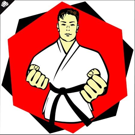 Karate kimono poster.martial kunst gekleurde embleem, symbool. Karate stijl. Japan, Korea, Okinawa, China, Brazilië, USA.Vector.