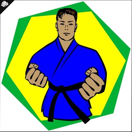 Karate kimono poster.martial arts colored emblem, symbol. Karate style. Japan, Korea, Okinawa, China, Brazil, USA.Vector .