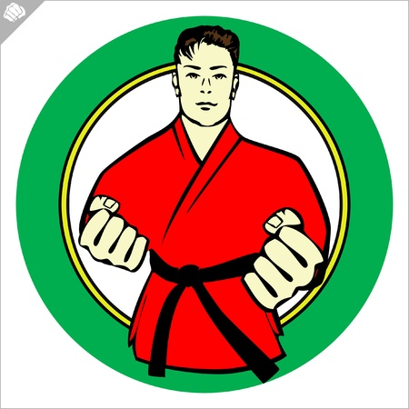 oyama: Karate kimono poster. martial arts colored emblem, symbol. Karate style. Japan, Korea, Okinawa, China, Brazil, USA.Vector .
