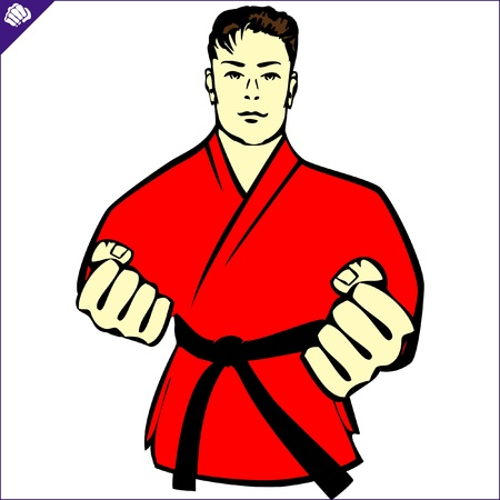 Karate kimono poster. martial arts colored emblem, simbol. Vector