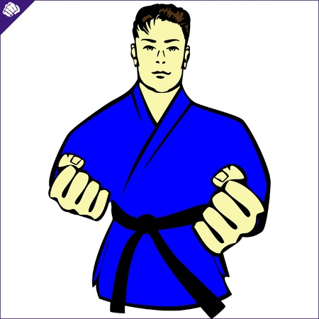 Karate kimono poster. martial arts colored emblem, symbol. Karate style. Japan, Korea, Okinawa, China, Brazil, USA.Vector . Vector