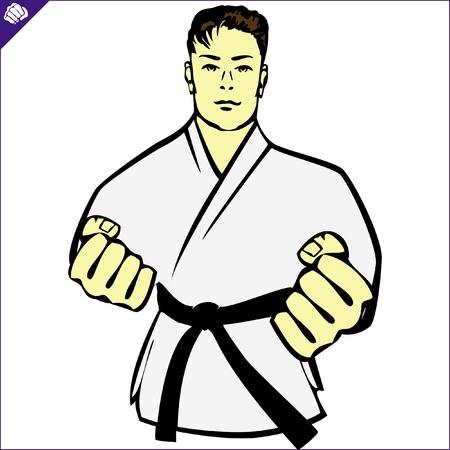 Karate kimono poster. martial arts gekleurde embleem, symbool. Karate stijl. Japan, Korea, Okinawa, China, Brazilië, USA.Vector.