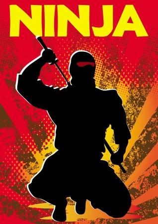 Ninja poster. martial arts gekleurde embleem, symbool. Karate stijl. Japan, Korea, Okinawa, China, Brazilië, USA.Vector. Stock Illustratie