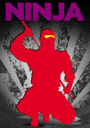 Red ninja poster. martial arts colored emblem, symbol. Karate style. Japan, Korea, Okinawa, China, Brazil, USA.Vector . Vector