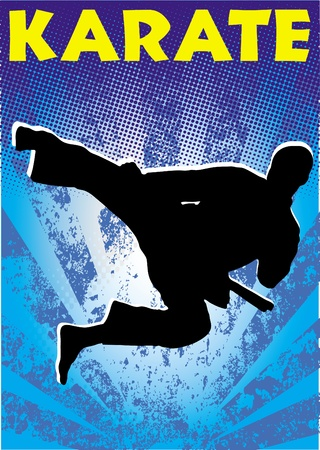 Karate jump poster. martial arts colored emblem, symbol. Karate style. Japan, Korea, Okinawa, China, Brazil, USA.Vector .