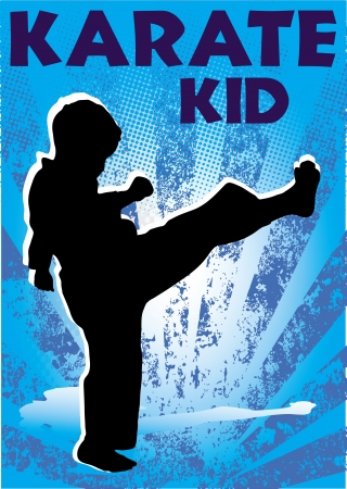 stock clip art icon: Karate kid poster. martial arts colored emblem, symbol. Karate style. Japan, Korea, Okinawa, China, Brazil, USA.Vector .