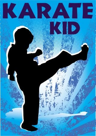 Karate Kid poster. martial arts gekleurde embleem, symbool. Karate stijl. Japan, Korea, Okinawa, China, Brazilië, USA.Vector. Stock Illustratie