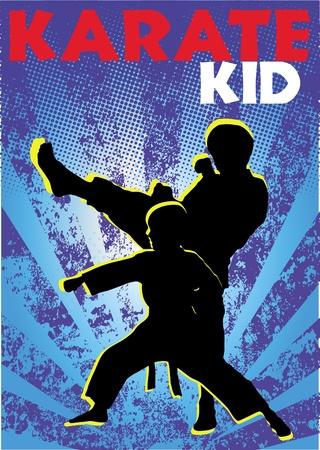 Karate kid poster. martial arts colored emblem, symbol. Karate style. Japan, Korea, Okinawa, China, Brazil, USA.Vector .