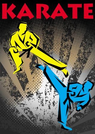 가라테 포스터. 무술 색의 상징 기호. 가라데 스타일. 일본, 한국, 오키나와, 중국, 브라질, USA.Vector. 일러스트