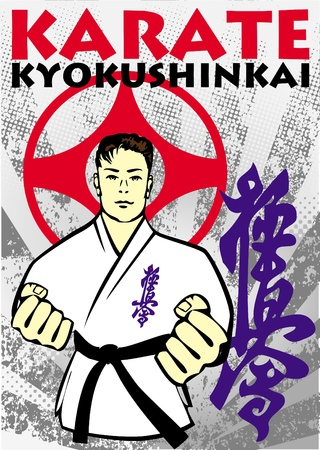 Karate kyokushin poster. martial arts colored emblem, simbol. Vector