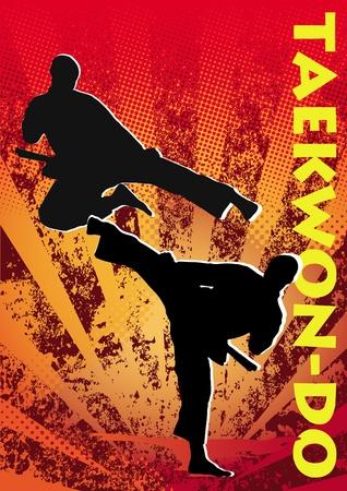 Taekwon-do poster. martial arts gekleurde embleem, symbool. Karate stijl. Japan, Korea, Okinawa, China, Brazilië, USA.Vector.