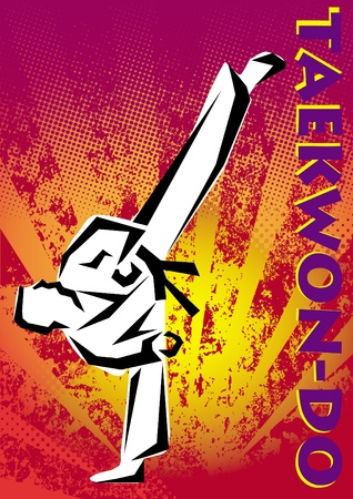 stock clip art icon: Taekwon-do poster. martial arts colored emblem, simbol.