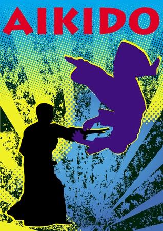 oyama: Poster aikido.martial arts colored emblem, simbol.