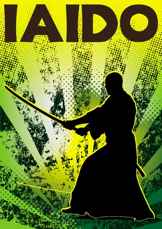 Poster iaido.martial arts colored emblem, simbol.