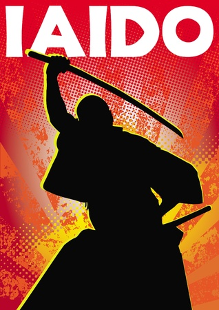 Poster iaido.martial kunsten gekleurde embleem, symbool. Karate stijl. Japan, Korea, Okinawa, China, Brazilië, USA.Vector.