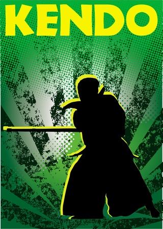 pankration: Kendo poster. martial arts colored emblem, simbol.